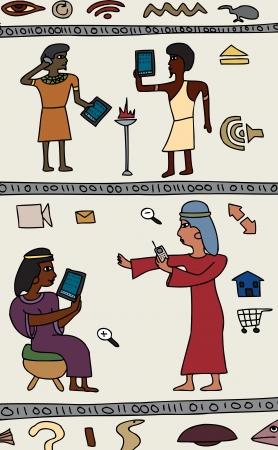 Dibujos de los antiguos egipcios con la tecnología moderna