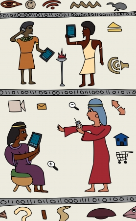 Drawings of Ancient Egyptians with modern technology Vector