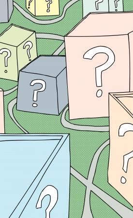 Cartoon of paths around question mark buildings Vector