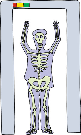 X ray cartoon of man in airport security scanner Stock Illustratie