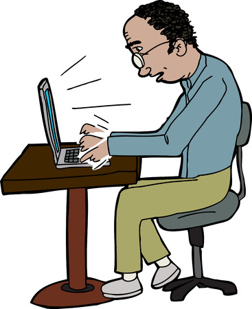 man with laptop: Badling man typing on laptop on small table Illustration