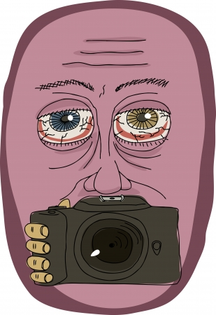Abstract man with camera in front of mouth
