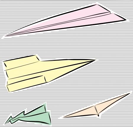 Group of paper airplane sketches on striped background Ilustração