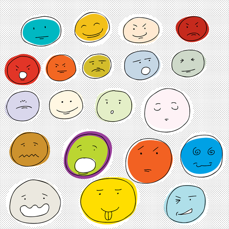 insulted: Set of various facial expressions on dot background Illustration