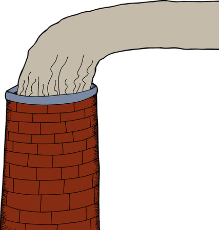 One isolated brick industrial chimney with smoke