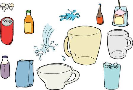 Assorted beverage cups and containers with splashes and ice