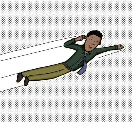 biracial: Young smiling businessman flying over halftone dot background Illustration
