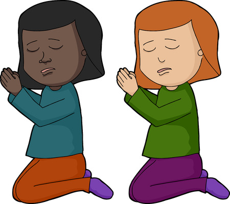 righteous: Girl with palms together and eyes closed in prayer over white Illustration