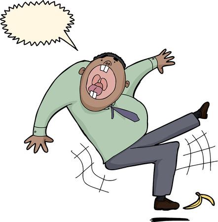 Screaming businessman slipping on banana peel over white background