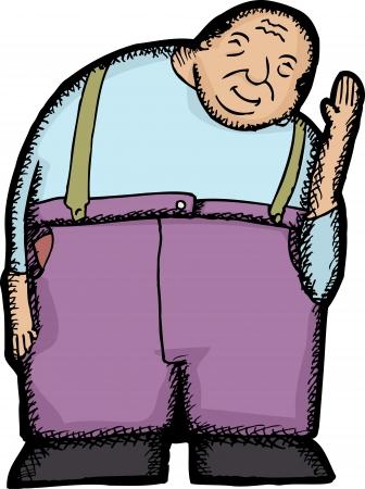 jorobado: Lindo jorobado hombre mayor agitando m�s aislado