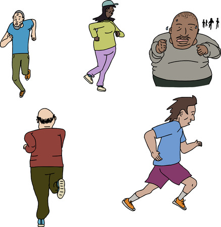 joggers: Mature male and female joggers on isolated background Illustration