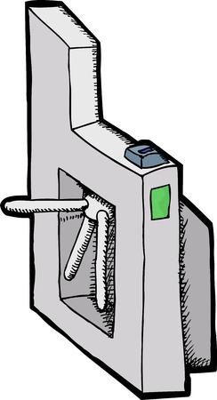 turnstile: Isolated public transit turnstile with fare card reader Illustration