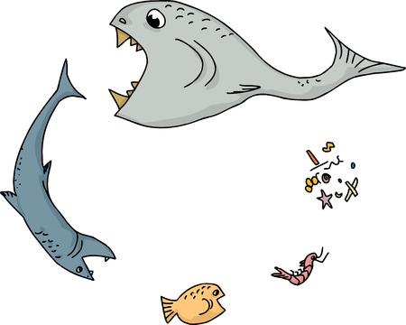 白い背景の上の海の食物連鎖の漫画  イラスト・ベクター素材
