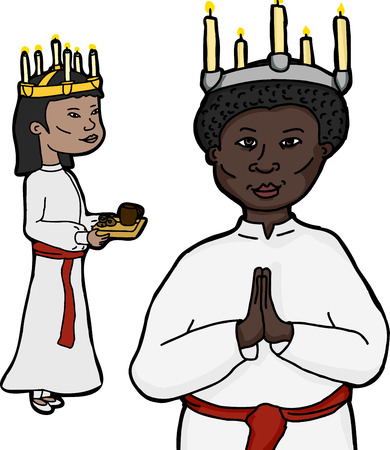 Asian and African women in costume for Swedish holiday Sankta Lucia Vector