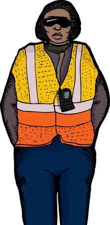 Female worker with safety vest and radio on white background