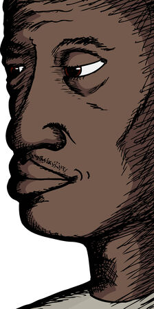 man close up: Close up of a mature African man on white background Illustration