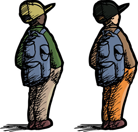 latin american boy: Rear view of small person with backpack and hat Illustration
