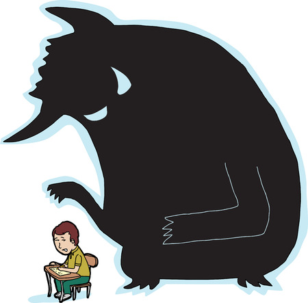 Scared child at desk with giant monster shadow