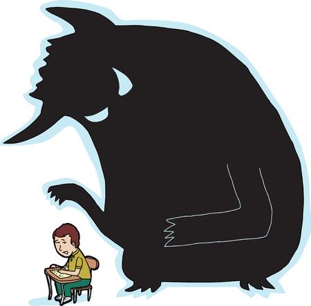 Scared kind bij bureau met gigantisch monster schaduw Stock Illustratie