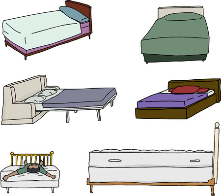 spring bed: Isolated cartoons of beds over white