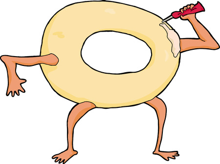anthropomorphic: Single anthropomorphic doughnut squeezing frosting on itself Illustration