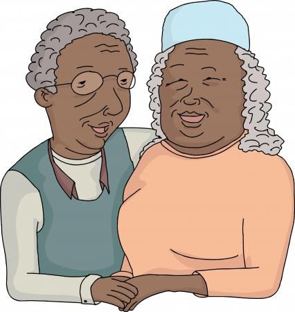 Smiling elderly couple holding hands on isolated background