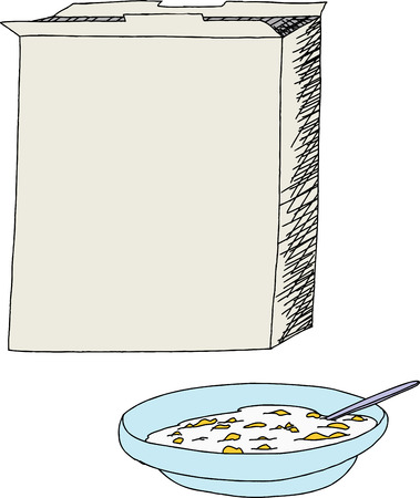 cereal box: Open cereal box with bowl of corn flakes over white Illustration