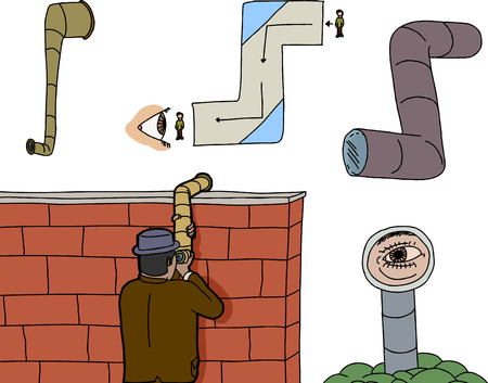 espionaje: Los periscopios y personas de espionaje en el fondo aislado