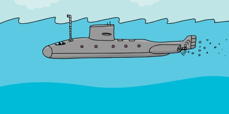 Cartoon submarine with periscope above the water Illustration