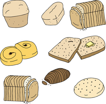 Set of loaves and slices of bread and rolls Ilustração