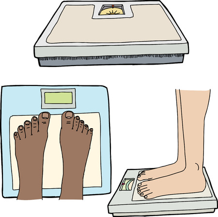 Feet and weight scales on isolated white background