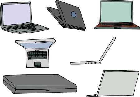 laptop: Group of laptop computers in various positions