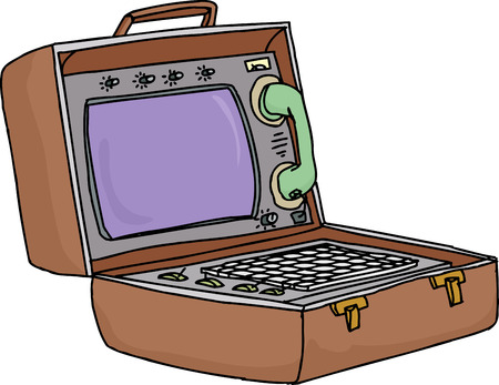 Vintage briefcase computer with phone on white background Vector