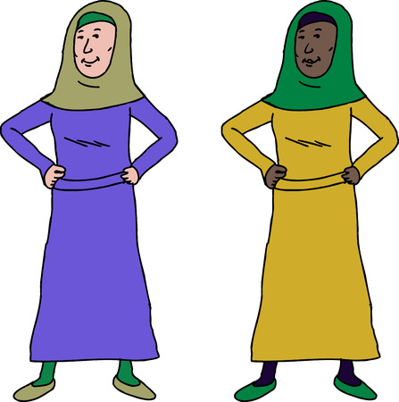 upbeat: Confident Muslim woman with hands on hips Illustration