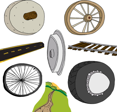Evolution of the wheel graphic on isolated background Vector