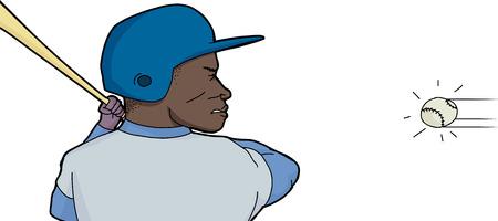 결정된: 방망이와 공을 결정 야구 선수 일러스트