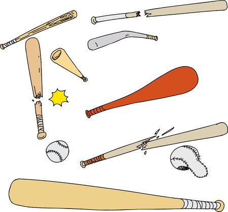 Set of various baseball bats and balls on white