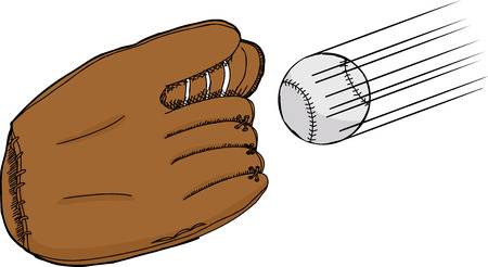 Isolated cartoon of baseball mitt with ball