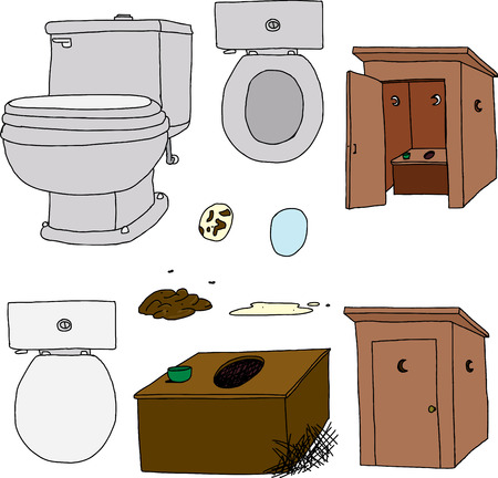 Toilet and outhouse cartoons on isolated background