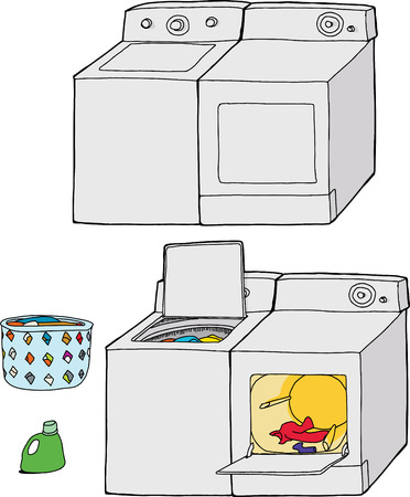 Washing machine and dryer cartoons with soap and clothing