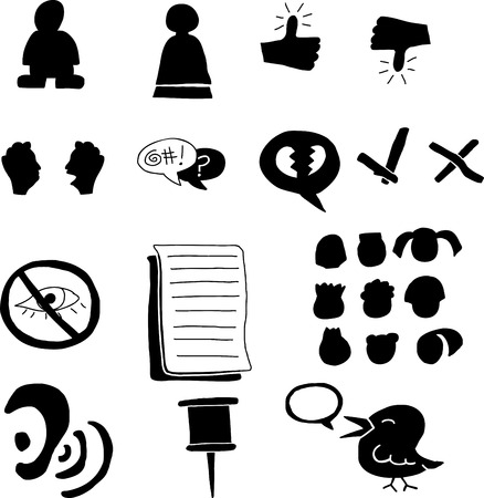 Set of funny internet icons and avatars Vector