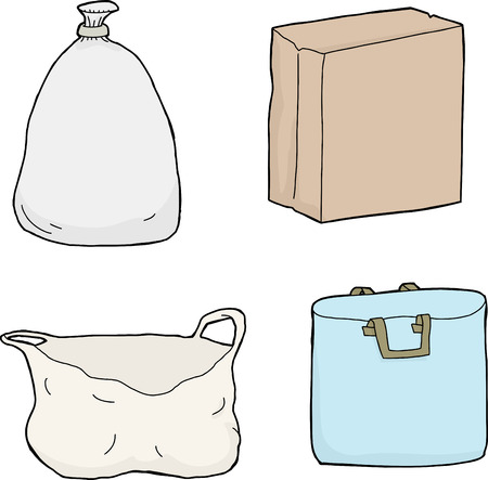 Set of isolated paper and plastic bags Vector