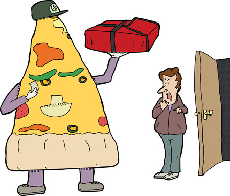 Slice of pizza delivering pizza to man