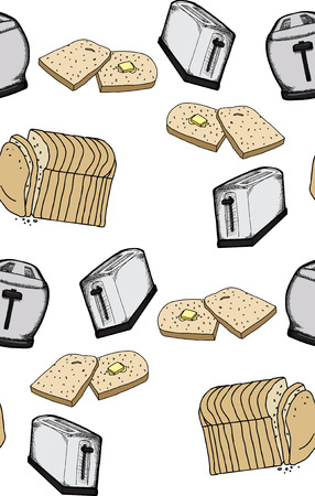 Seamless background wallpaper pattern of toast and toasters Ilustração