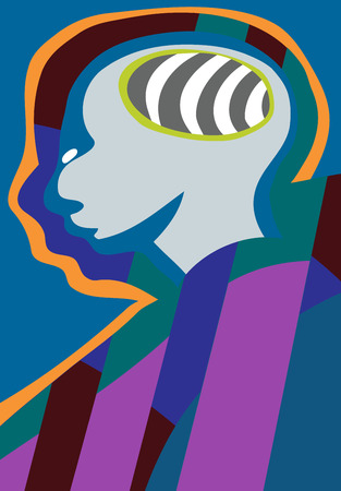 extra sensory perception: Abstract illustration of human head with brain in blue