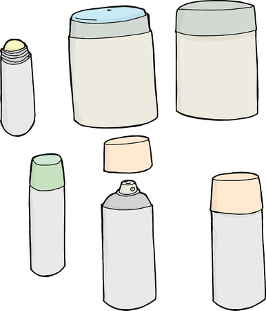 Set of deodorant containers on isolated white background