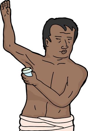 Hispanic man putting on deodorant over white background Stock Vector - 26120031
