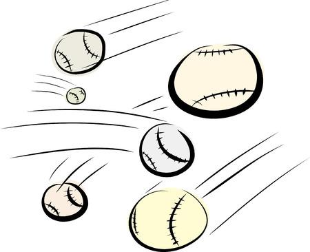 midair: Various baseballs flying over isolated white background