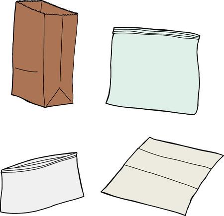 Vier geïsoleerde hersluitbare, plastic en papier boterhamzakjes Stock Illustratie