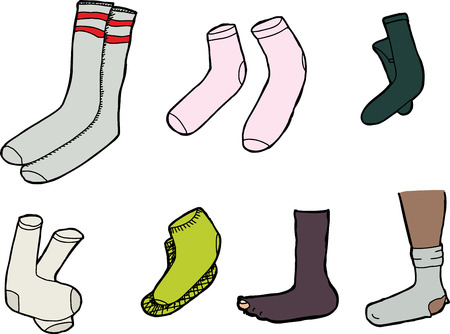 Various socks cartoons on isolated white background